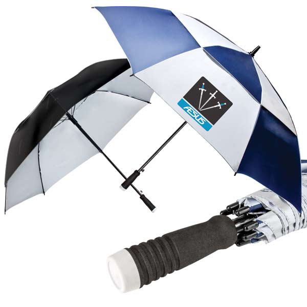 Logo's umbrella Golf Tournament giveaway logo promotional products at www.promosapien.ca