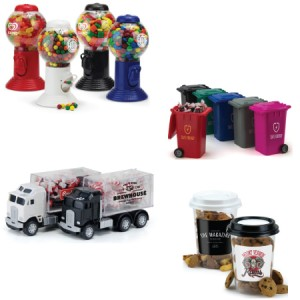Custom-candy-containers-truck-coffee-gumball-machine-garbage-can